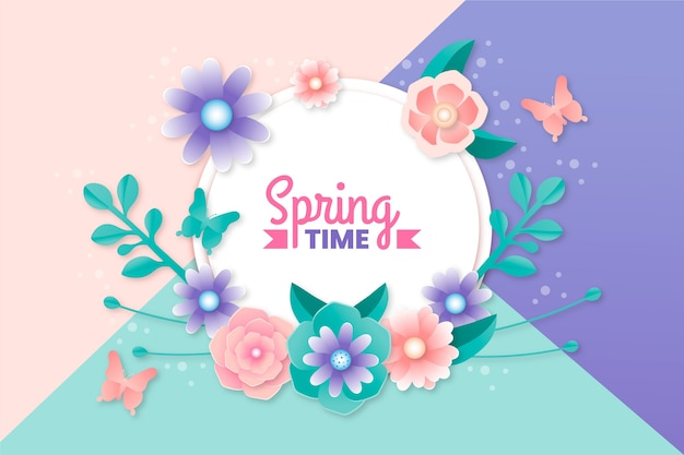 Spring wallpaper in paper style