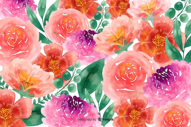 Spring watercolor blossom flowers background