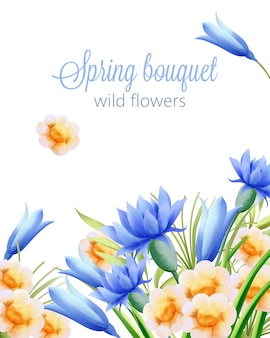Spring watercolor bouquet of wild yellow and blue flowers