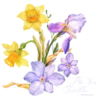 Spring watercolor bouquet with spring flowers