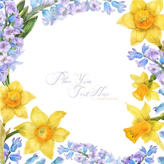 Spring watercolor frame with daffodil and hyacinth flowers