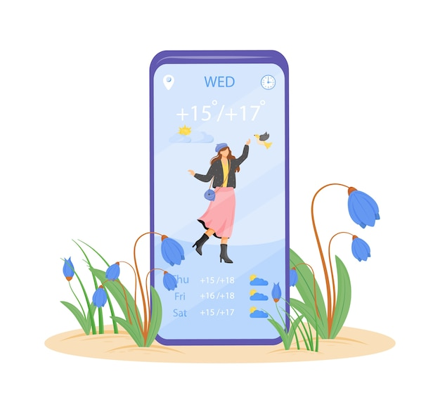 Spring weather forecast cartoon smartphone app screen. mobile phone display with flat character design . weekly temperature for warm days application telephone interface