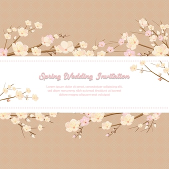Spring wedding invitation in pink cherry blossom ornament