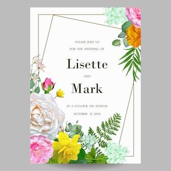 バラと春の結婚式の招待状