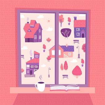 집과 나무와 아름다운 풍경을 볼 수있는 봄 창. 문턱에 책과 커피 한잔.