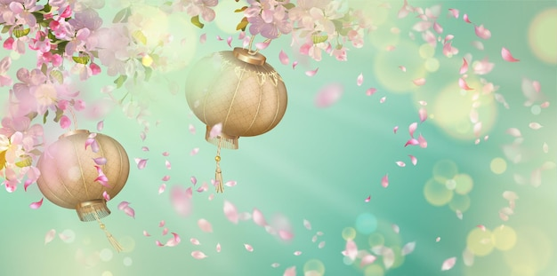 Spring with cherry blossom, flying petals and oriental lanterns