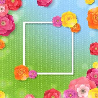 グラデーション付き花フレーム春