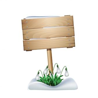 Весенний деревянный знак с белыми цветами подснежников
