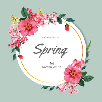 Spring wreath frame fresh flowers, decor card with floral colorful garden, wedding, invitation