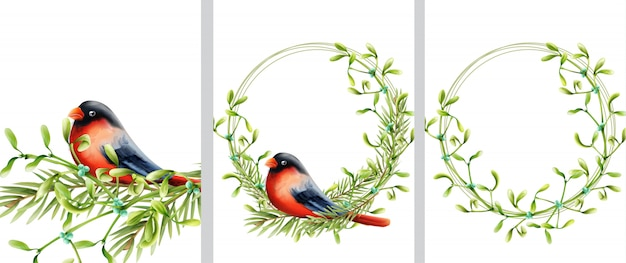 Spring wreath with bird sitting on green wreath