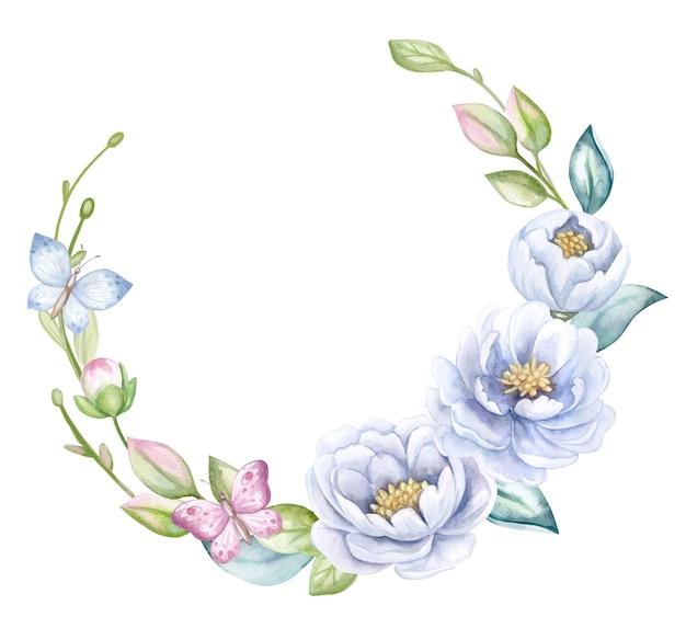 Весенний венок с голубыми пионами. акварель