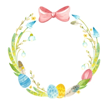 Spring wreath with easter eggs, feathers and flowers illustration