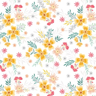 Spring yellow and pink flowers seamless pattern