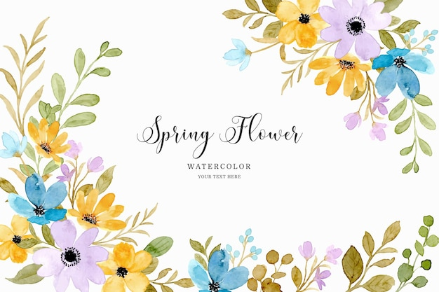 Spring yellow purple flower background with watercolor