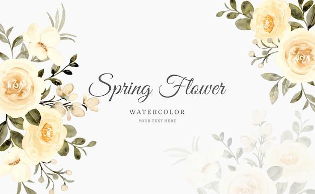 수채화와 봄 노란 장미 꽃 배경