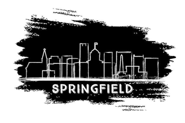 スプリングフィールドイリノイ市のスカイラインのシルエット。手描きのスケッチ。ベクトルイラスト。歴史的な建築とビジネス旅行と観光の概念。ランドマークのあるスプリングフィールドの街並み。