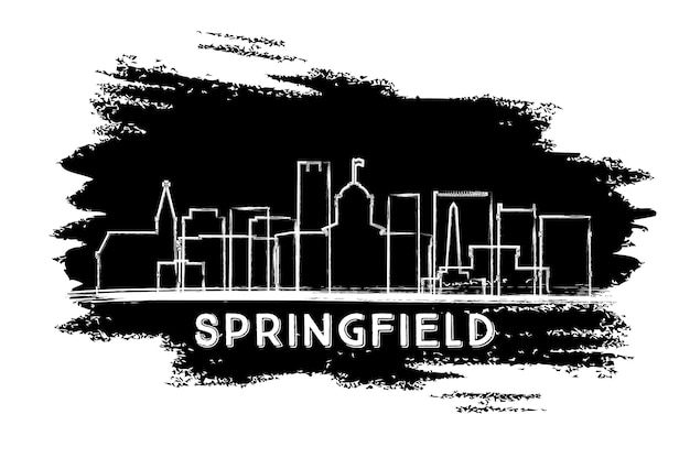 Springfield illinois city skyline silhouette. hand drawn sketch. vector illustration. business travel and tourism concept with historic architecture. springfield cityscape with landmarks.