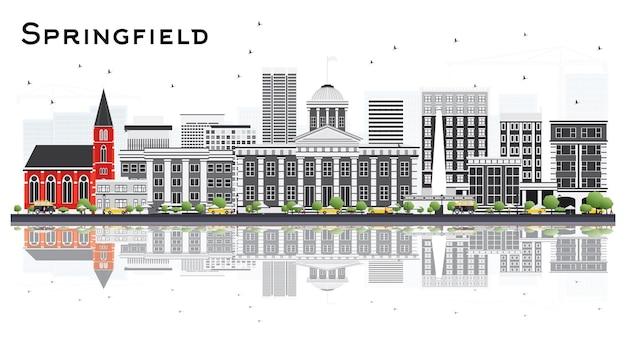 Горизонт города спрингфилд иллинойс с серыми зданиями и размышлениями, изолированными на белом. векторные иллюстрации. деловые поездки и концепция туризма. городской пейзаж сша спрингфилд с достопримечательностями.