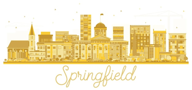 Спрингфилд, штат иллинойс, сша. городской горизонт золотой силуэт. векторная иллюстрация. простая плоская концепция для туристической презентации, баннера, плаката или веб-сайта. городской пейзаж спрингфилда с достопримечательностями.