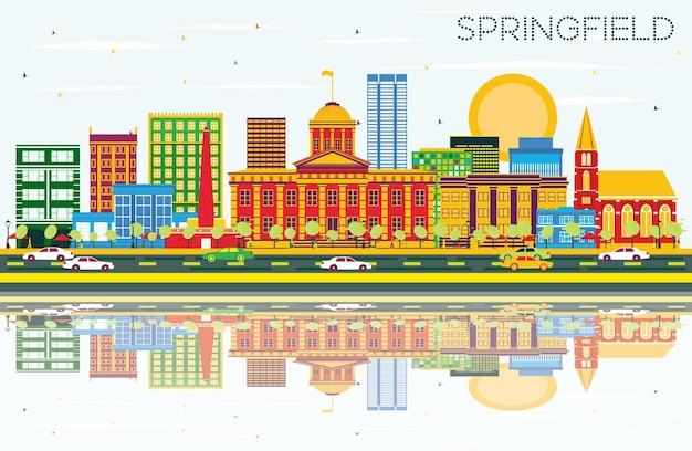 色の建物、青い空と反射のあるスプリングフィールドのスカイライン。ベクトルイラスト。出張と観光の概念。プレゼンテーションバナープラカードとwebサイトの画像。