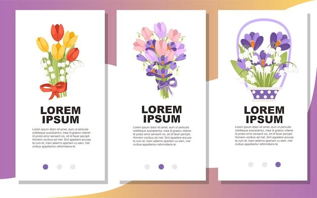 さまざまな花の垂直バナーデザインと春の花の花束