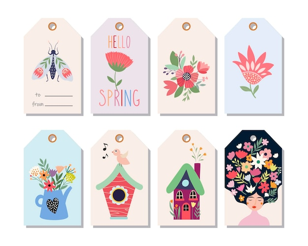 Springtime hang tags isolated on white Premium Vector