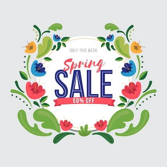 Springtime sales wreath of leaves