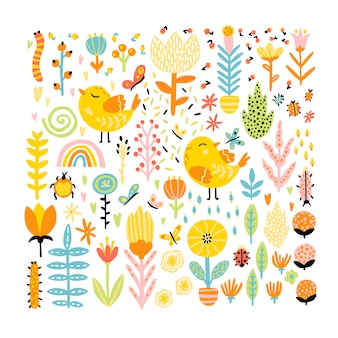 디자인에 대 한 만화 낙서 요소의 탄력있는 컬렉션입니다. 곤충 꽃과 무지개와 귀여운 새. 손으로 그린 스칸디나비아 스타일의 유치한 그림