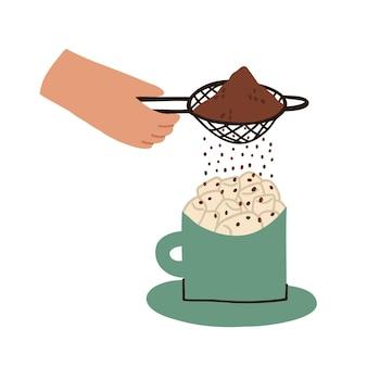 마시멜로와 함께 코코아 음료를 뿌립니다. 컵에 마시멜로. 뜨거운 음료를 준비합니다. 벡터 평면 그림 흰색 배경에 고립입니다.