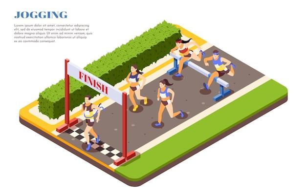 フィニッシュラインを横切る障害物を飛び越えるスプリントハードルレースランナーアイソメトリックコンポジションスポーツジョギングプロモーション