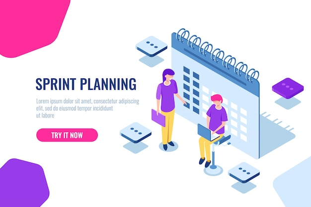 Sprint planning isometric concept, calendar filling, important affairs reminder