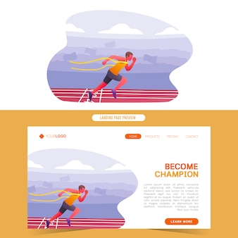 Sprinter running marathon on finish line become winner champion web template