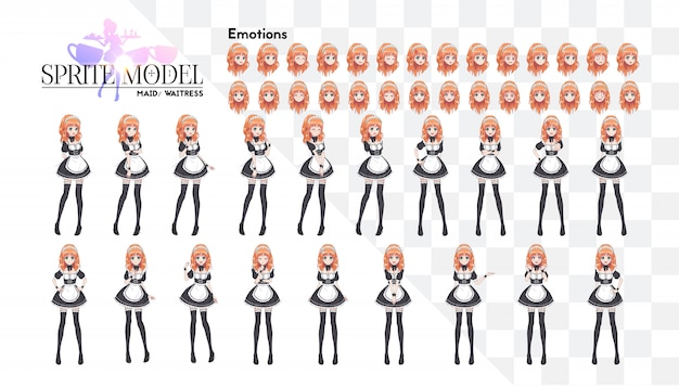 Sprite full length character for game visual novel. anime manga girl, cartoon character in japanese style. costume of maid cafe. set of emotions