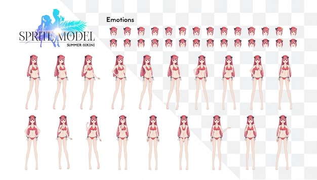Sprite full length character for game visual novel. anime manga girl, cartoon character in japanese style. in a summer bikini swimsuit. set of emotions
