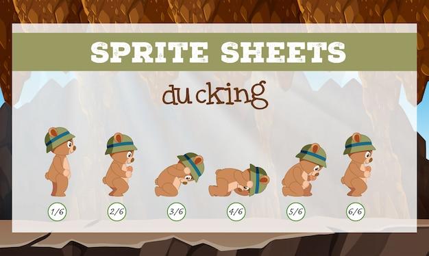 Sprite sheet bear ducking