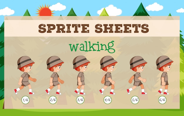 Sprite sheet boy walking