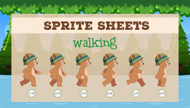 Sprite sheet brown bear walking