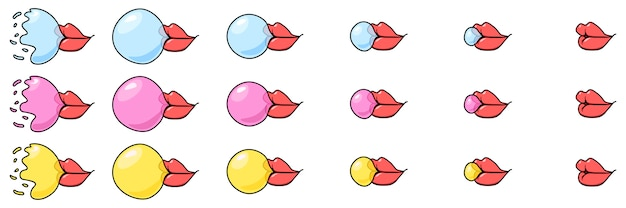 A sprite sheet of a bubble gum from mouth.