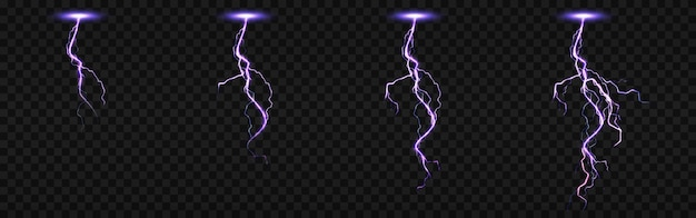 Sprite sheet with lightnings, thunderbolt strikes set for fx animation. realistic set of purple electric impact at night, sparking discharge of thunderstorm isolated on transparent background