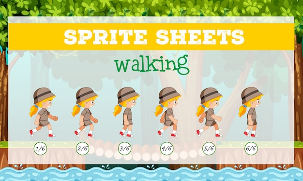 Sprite sheets girl walking