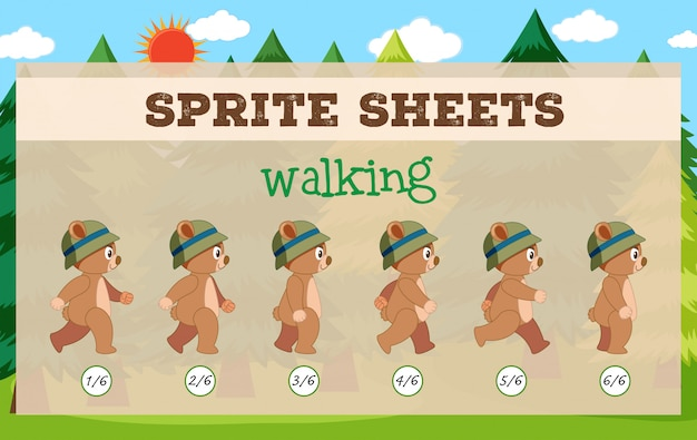 Sprite sheets walking game template