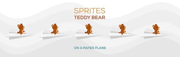 종이 비행기에 있는 테디베어의 스프라이트 갈색 테디베어 비행 테디베어