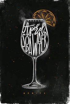 Spritz cocktail lettering prosecco, aperol, soda water, in vintage graphic style drawing with chalk and color on chalkboard background