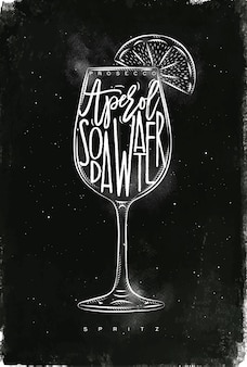 Spritz cocktail with lettering on chalkboard style