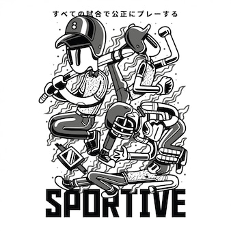 Sprotive black and white illustration