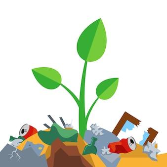 새싹은 쓰레기 더미에서 자랍니다. 자연의 오염. 평면 벡터 일러스트 레이 션 프리미엄 벡터