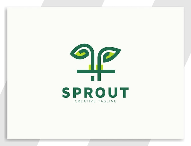 Sprout plant with leaves and root flat logo design