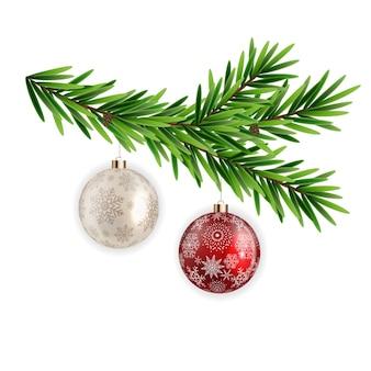 スプルースブランチモミクリスマスボール。