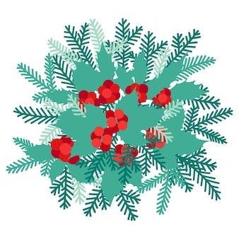 가문비나무 가지와 홀리 가지, 새해와 크리스마스 요소가 평평한 스타일로 되어 있습니다.