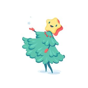가문비 나무 캐릭터. 크리스마스 그림입니다.